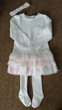 Emile Et Rose Pale Pink L/S Ruffle Dress W/Stockings & Headband Girls Sz 23 Mont