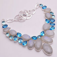 925 Sterling Silver Overlay Multi Gemstone Statement Necklace Jewelry PN867
