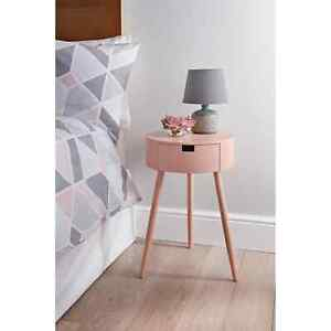 Bedside Table Lamp Nightstand Blush Bedroom Storage Round 1 Drawer