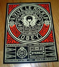 """SHEPARD FAIREY Obey Giant Sticker 4 X 5.25"""" VIVE LE ROCK from poster print"""