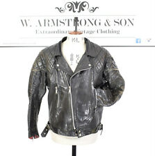 Men's VTG 60s 70s TT LEATHERS Black REAL LEATHER Biker Motorcycle Punk Jacket M