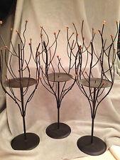 """Pillar Candle Holder Centerpiece Fall  Halloween Woods Branches Beads Iron 15"""""""