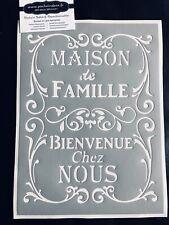 Pochoir Adhésif Réutilisable 30 x 20 cm Affiche Maison De Famille Bienvenue