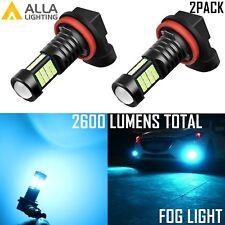 Alla Lighting 2x 2600lm H16 Super Bright Ice Light Blue 3030 LED Bulbs Fog Light