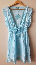 LETARTE Light Blue Popcorn Embroidered Sleeveless Dress Cover Up Sz XL NWT $238