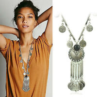 Women's Bohemian Gypsy Boho Silver Coin Long Chain Tassel Pendant Necklace WL