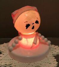 Vintage Baby Nursery Lamp Sleepy Baby In Pink Night Cap Sweet Painted Face