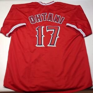 SHOHEI OHTANI UNSIGNED CUSTOM RED  JERSEY  XL