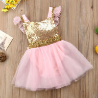 USA Flower Girl Princess Dress Infant Baby Party Wedding Lace Tulle Tutu Dresses