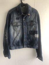 Armani Exchange Denim Jacket Patched Ripped Designer Jean Jacket Size M Medium