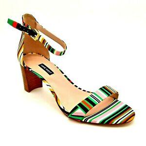 Nine West Women NW Pruce Sandal Sz 6M Multi Color Stripe Ankle Strap NEW