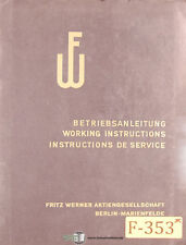 Fritz Werner Size 4, 2.203, Horizontal Milling Operation Install Wiring Manual