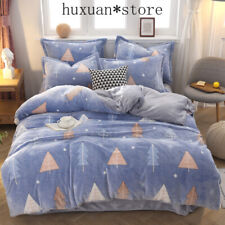 Chirstmas Snowflake Cashmere Bedding Set Coral Fleece Duvet Cover Flannel Thicke