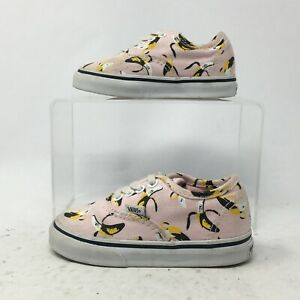 VANS Toddlers 6 Bananas Authentic Casual Sneakers Pink Canvas Low Top Lace Up