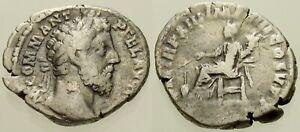 004. Roman Silver Coin. COMMODUS, AR Denarius. Rome. Fortuna. aVF