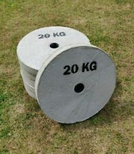 """Steel Reinforced Concrete Weight Plates 20kg 2"""", Used"""