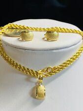 "18K 750 Fine Yellow Gold 18"" Long Kids or Women's  Necklace & Earring 2.5mm 6g"