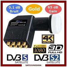 LNB Octo Tête Universelle 0,1 dB Gain 65 dB Full HD 3D Ultra HD 4K Gold
