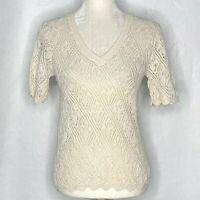 Vintage Vivanti Loose Knit Sweater S Ivory V Neck Short Sleeves Scalloped Hem