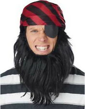 Pirate Disguise Black & Burgundy Stripe Cap With Attached Eye Patch & Beard OS