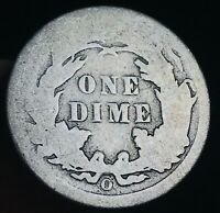 1891 O Seated Liberty Dime 10c Ungraded Good Date Worn 90% Silver US Coin CC3901