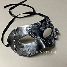 New ! Silver Steampunk Men Steam-Powered Machinery Custom Party Masquerade Mask