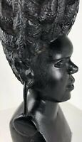 Ebony Wood Statue HAND CARVED Sculpture South Africa FOLK ART Woman & Childen