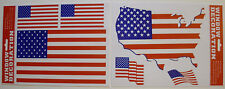Set of 6 US American Flag Window Clings / Stickers For Home, Office, or Car