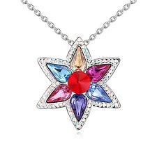 18K GoldGP Made With Swarovski Element Crystal Star Flower Necklace Multi-Colour