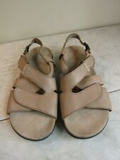 SAS Huggy Comfort Sandals Shoes Light Brown Leather with EZ Strap Women's 8 W