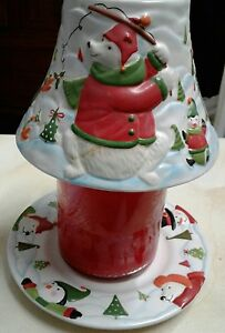 Yankee Candle North Pole Jar Shade and Plate - Polar Bear Penguin Snowmen