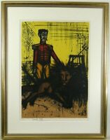 """Bernard Buffet Lithograph """" Le Lion """" Circus Hand Signed Limited F/S From Japan"""