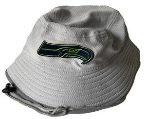 NEW ERA SEATLE SEAHAWKS BUCKET HAT S/M $35 TEAM ISSUE ON-FIELD NFL DS GRAY