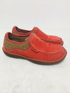 SIMPLE Red Suede Pedbed Comfort Slip-On Shoe Womens Size 8 - T22