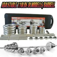 Totall 110LBS Weight Dumbbell Set Adjustable CAP GYM BARBELL PLATES Body Workout