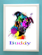 Personalised Staffordshire Bull Terrier Dog Wall  Art Print Paint Christmas Gift