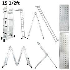 16 Step 155ft Ladder Folding Extension Aluminum Multi Purpose 330lb Load
