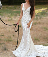 Mermaid V Neck Wedding Dresses Bridal Gowns Lace Applique Sleeveless Custom Size