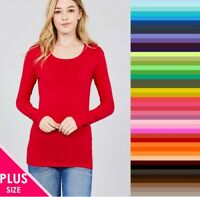 Womans Scoop Neck T Shirt Plus Size Long Sleeve Active Basic Cotton XL/1X/2X/3X