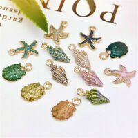 13 Pcs Mixed Metal Starfish Conch Shell Charms Pendant DIY Jewelry Making Set