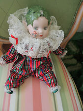 "Christmas Baby W/ Classical Music 12"" Porcelain Head, Hands, Legs Nice Out Fit."