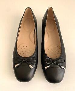 Geox Annytah D Black Leather Comfort Ballet Flats Size 38