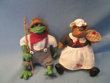 Lot 2 RUSS SHELF SITTERS figurines CHEF MOUSE & FISHING FROG stuffed characters