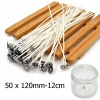 50pcs Pre Waxed Wicks For Candle Making With Sustainers Cotton Coreless