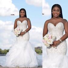 Arabic Cascading Ruffles Mermaid Beading Wedding Dresses Crystals Bridal Gowns