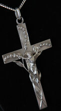 Crucifix with Lilies Large Sterling Silver Serial Number 1 with 30 inch Chain