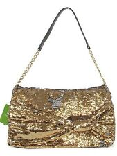 KATE SPADE UNBELIEVABLE PAOLA EL MOROCCO GOLD SEQUIN BOW LARGE CLUTCH PURSE NWT
