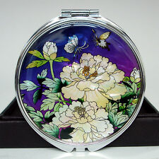 Mother of Pearl Compact Purple White Peony Flower Cosmetic Makeup Pocket Mirror