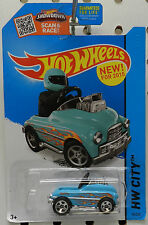 TEAL BLUE PEDAL DRIVER 74 2015 TOY CAR ROD STREET FLAMES NEW ON CARD HOT WHEELS