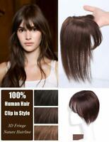 100% Remy Human Hair Clip in Topper Hairpiece With 3D Flat Bangs Cover Loss Hair